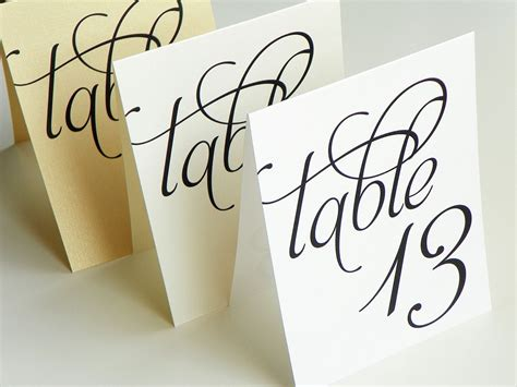 wedding table number cards scripted pearl shimmer table numbers table number signs