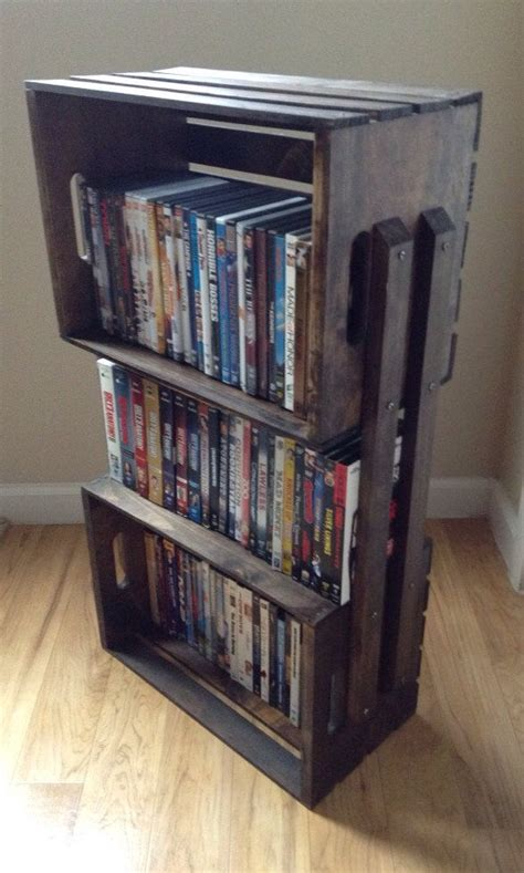 rustic wooden crate 3 shelf bookcase shelving floor stand