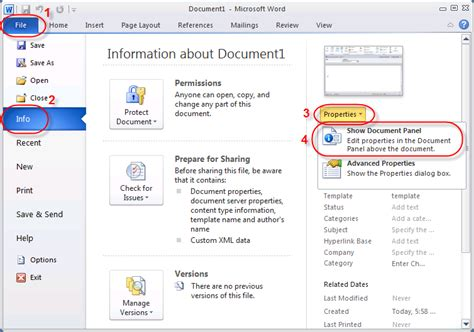 info show how to open the document information panel in microsoft word premierpoint solutions