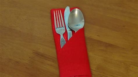how to fold a napkin into a silverware pouch