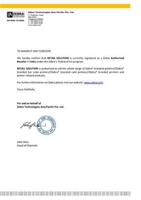 authorization letter manufacturer retail solution and technologies manufacturer from