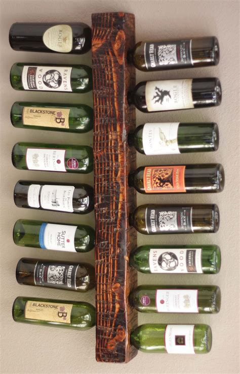 Handmade Wine Rack - wood wine rack holds 16 bottles wall mount display