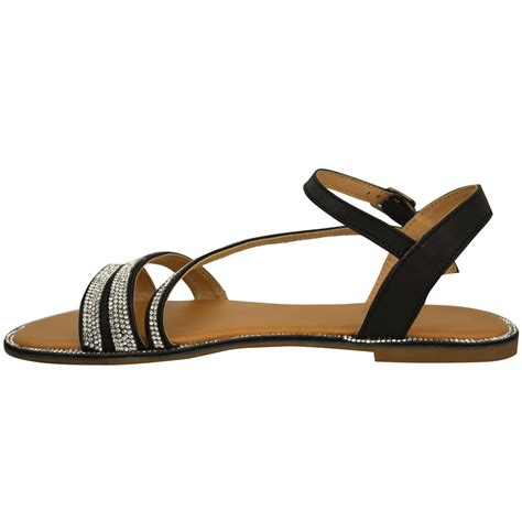 strappy flat shoes womens flat strappy sandals diamante summer toe