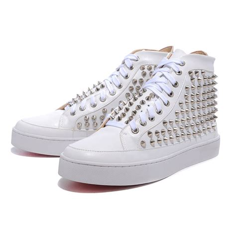 bottom sneakers mens white patent leather silvery sticker mens bottom sneakers