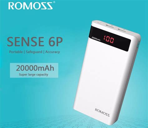 Romoss Sense 6p Power Bank 20000mah Dengan Lcd Display 5v 21a romoss sense 6p power bank 20000mah dengan lcd display 5v 2 1a oem white jakartanotebook