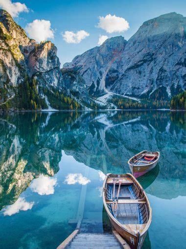 lake deck boat mountains mirror wallpaper