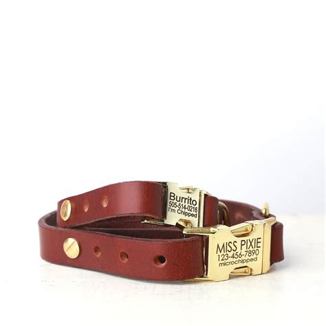 engraved collars personalized brown leather collar engraved side release buckle