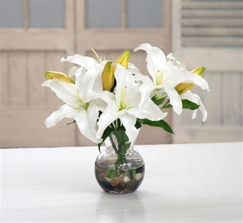 How To Arrange Lilies In A Vase by White Casablanca In Vase Winward Home Finest Permanent Botanicals