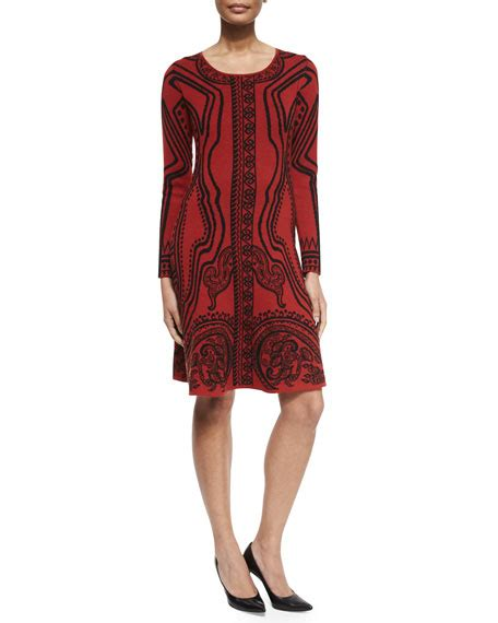 Printed Sleeve A Line Dress etro sleeve printed a line dress neiman