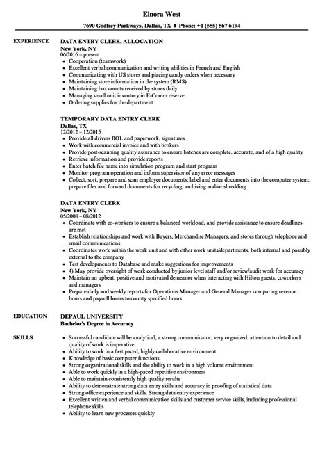 clerical resume sle sle resume for data entry clerk position cover letter