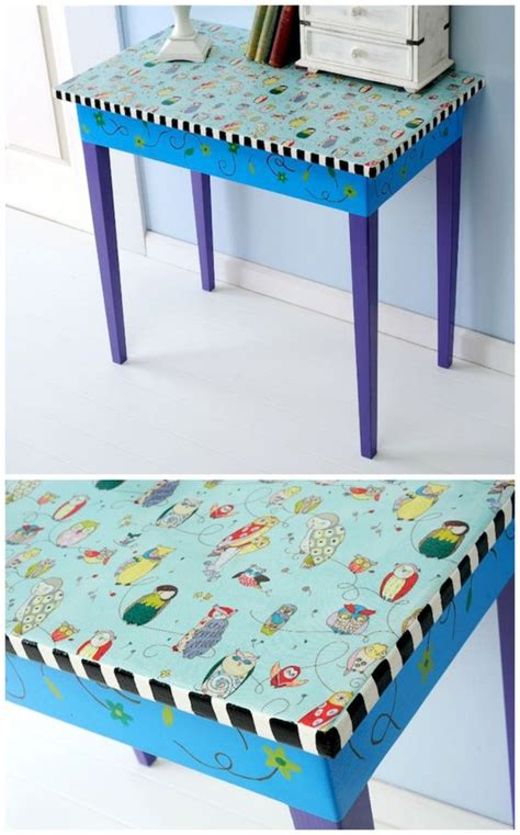Decoupage Table Top With Fabric - upcycled furniture mod podge fabric table decoupage