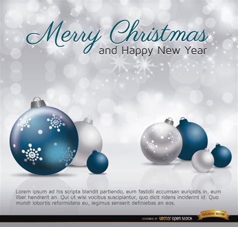 merry christmas silver blue balls card vector