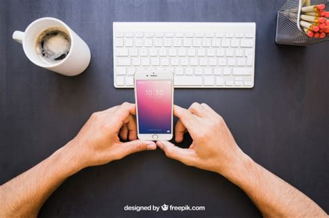 hands free desk phone hands with phone and office desk psd file free download