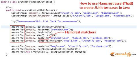 how to use how to use hamcrest assertthat matchers to create junit