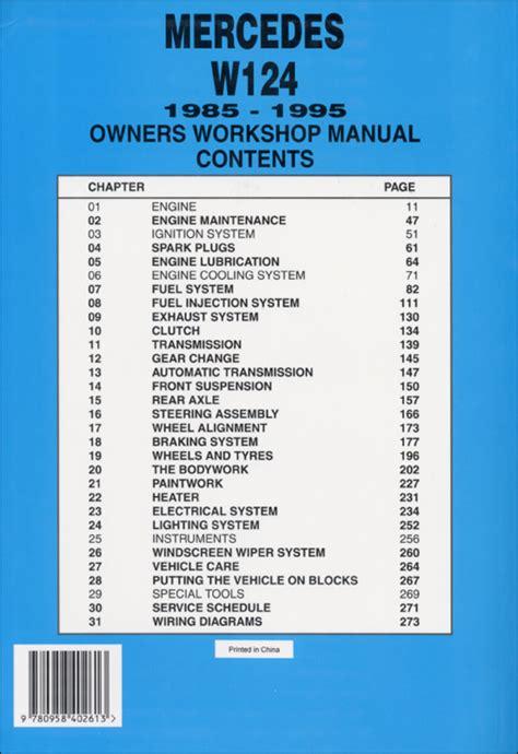 mercedes benz w124 service and repair manual 1985 1995 back cover mercedes benz repair manual mercedes owner s workshop manual w124 1985 1995