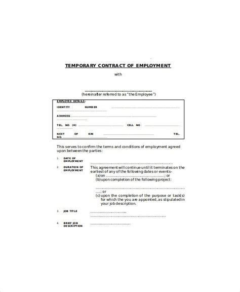 temporary will template temporary employment contract pdf c45ualwork999 org