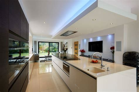 modern open plan kitchen designs modern open plan kitchen lighting with led ceiling lights
