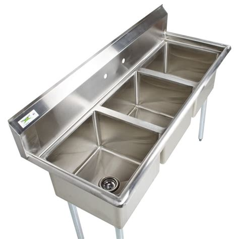 Stainless Steel Commercial Sinks by 60 Quot Stainless Steel 3 Compartment Commercial Sink