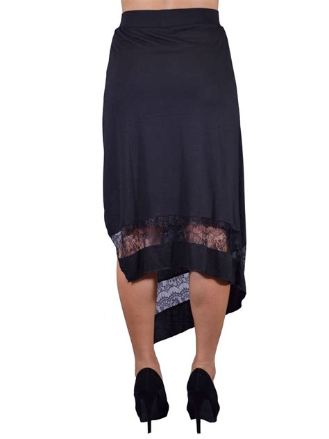 knit skirts with elastic waist uk fanciful asymmetrical lace details elastic waist jersey