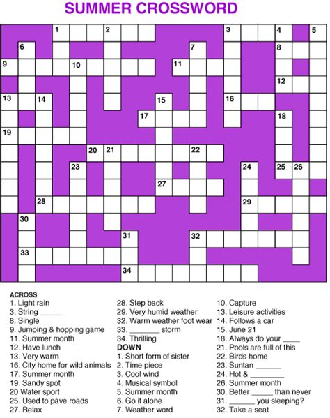 easy crossword puzzles with answer key 6 mind blowing summer crossword puzzles kitty baby love