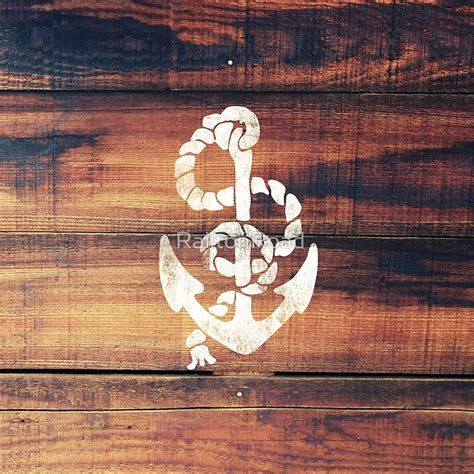 Nautical Theme Pillows - quot vintage nautical anchor white on brown wood grain quot metal prints by railtonroad redbubble
