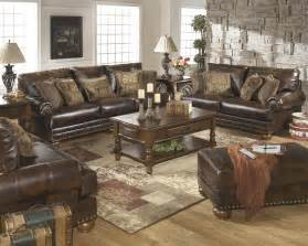 Ashley Brown Leather Durablend Antique 2pc Sofa Package By