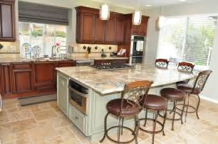 kitchen island with stove and seating dynasty cherry wood nutmeg onyx
