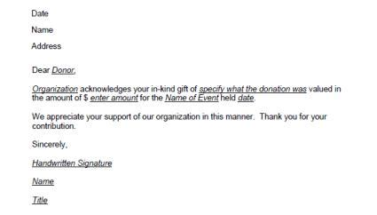 contribution acknowledgement letter template donation thank you letter template lovetoknow