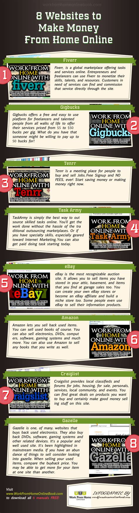 Money Making Online Sites - 8 websites make money from home online infographic