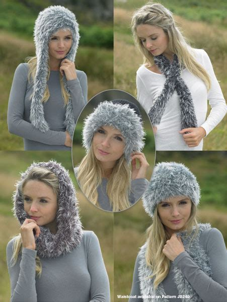Scarf Lelga Jb 251 c brett faux fur snood neck wrap and hats knitting pattern jb251