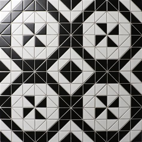 pattern tiles black and white windmill series 2 matte black white triangle triangle