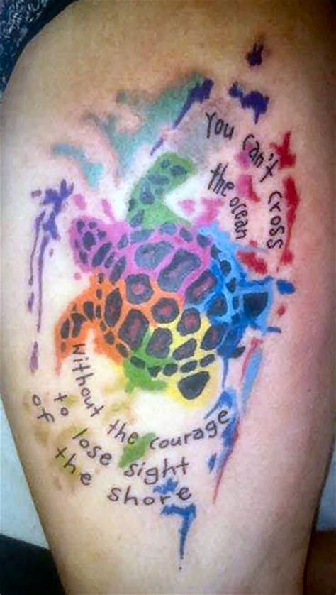 watercolor tattoo turtle turtle watercolour water splash quote thigh