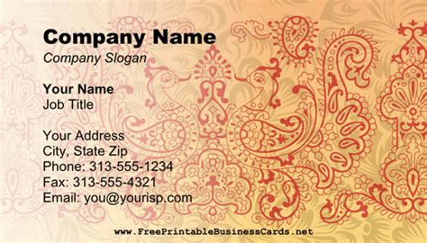 mehndi card template mehndi business card business card