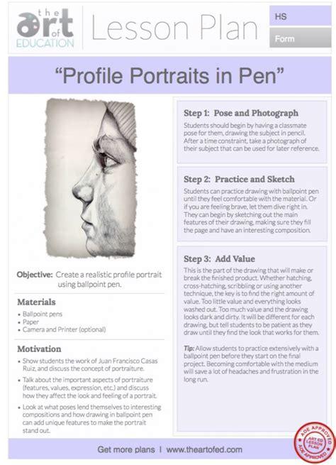 doodle lesson plan profile portraits in pen free lesson plan the