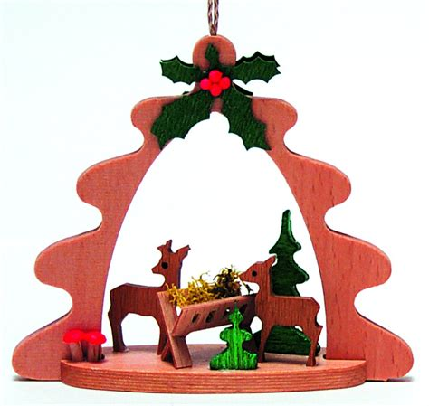 feeding deer german wood christmas tree ornament