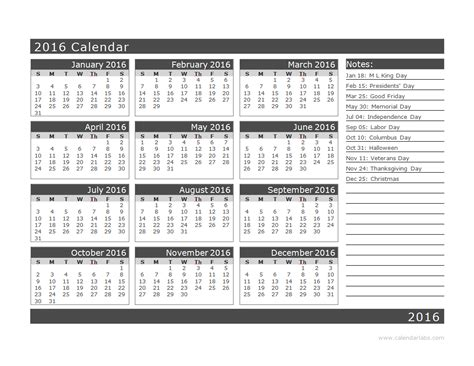 2016 yearly calendar template 16l free printable templates
