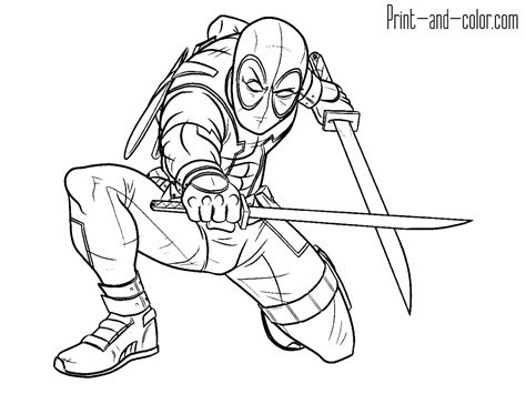 deadpool coloring pages print and color com