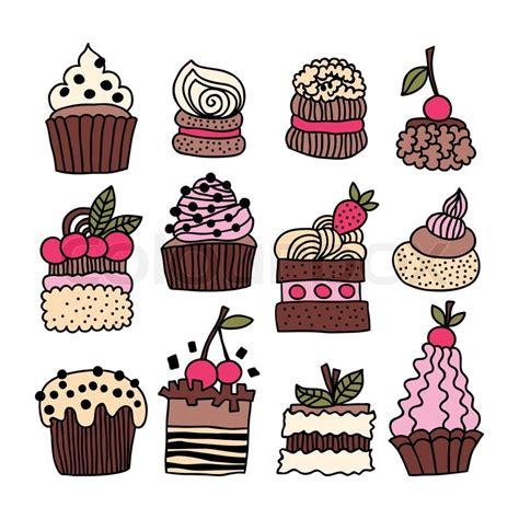 set  hand drawn cakes desserts stock vector colourbox