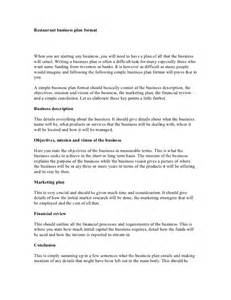 small restaurant business plan template restaurant business plan format