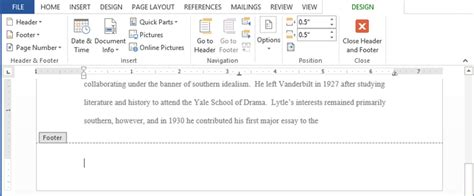 word 2013 headers footers and page numbers