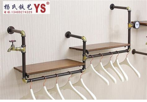 Wall Shelf With Clothes Rod by 2017 Retro Iron Pipe Coat Rack Clothing Store Shelf Hanging Rod Side Wall Hangers Wall Clothing
