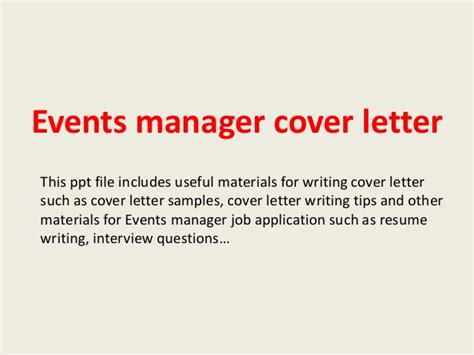 Entertainment Director Cover Letter by Events Manager Cover Letter