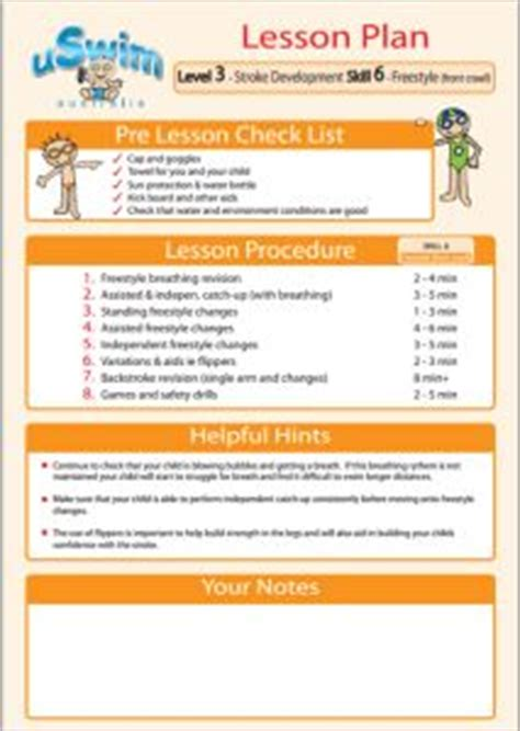 swim lesson plan beginner lesson template swimming
