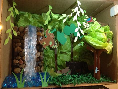 How To Make Rainforest Animals Out Of Paper - andrew s rainforest habitat diorama using cricut for trees