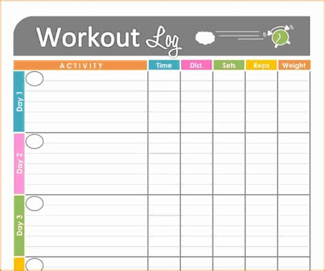 Daily Work Tracker Template 8 daily fitness log divorce document