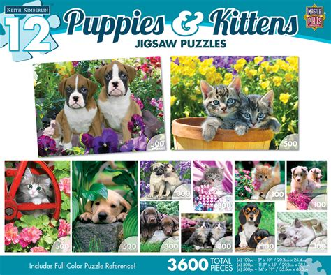 puzzle puppies 12 puzzles puppies kittens master pieces 31647 500