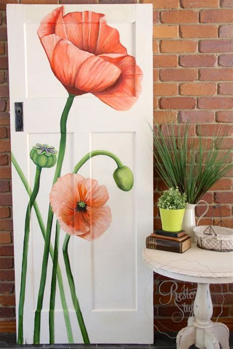 acrylic paint adalah acrylic painted poppies on antique door by artist
