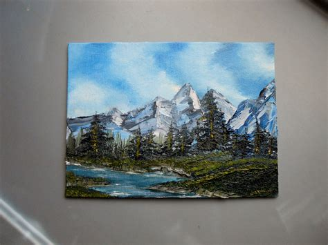 bob ross paintings purchase small 8 x 6 mountain painting bob ross style by lashink on