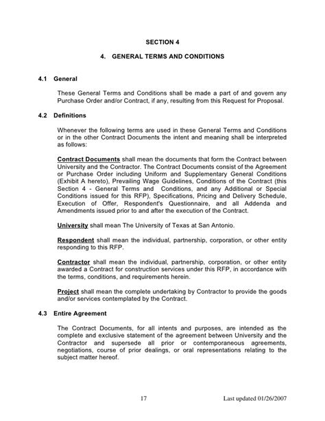 terms and conditions template construction contract terms and conditions template