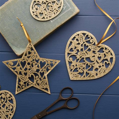 stars decorations for home gold glitter wooden heart or star christmas decoration by